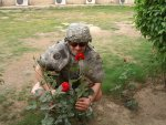 Taking time to smell the roses after a mortar attack in Iraq