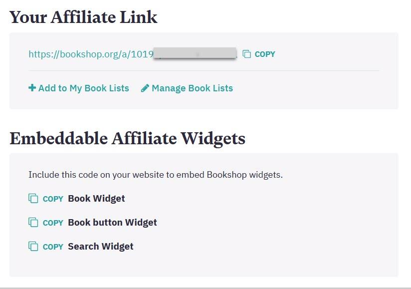 bookshop affiliate info