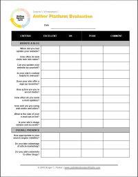 Roger C. Parker's Free Author Platform Evaluation Worksheet